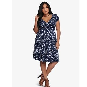 Torrid Butterfly Pattern Faux Wrap Dress